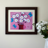 One Off Pink Floral Art print with Daisy Bouquet and Turquoise Butteflies
