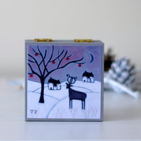 Winter Landscape Trinket Box with Whimsical Art Print, Christmas Gift