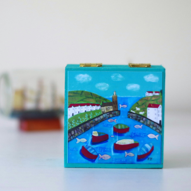Nautical Style Trinket Box, Harbour Scene Art Print Decorative Box, Seascape Box