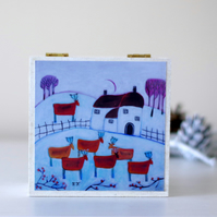 Winter Landscape Decorative Box, Wintry White Jewellery Box