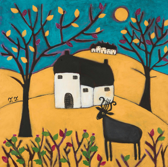 Whimsical Landscape Original Painting, Devon Cottage Artwork with Deer