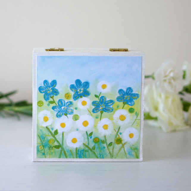 White Floral Trinket Box, Jewellery Box with Turquoise Flowers, Decorative Box