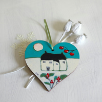 Christmas Hart Hanging Decoration with Cottage and Winter Landscape