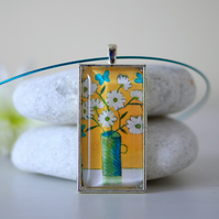 Yellow Pendant with Flowers and Butterflies and Turquoise Necklace