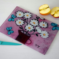 Pink Chopping Board with White Flowers and Turquoise Butterflies Art Print