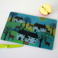 Landscape Chopping Board with Art Print, County Kitchen Chopping Board
