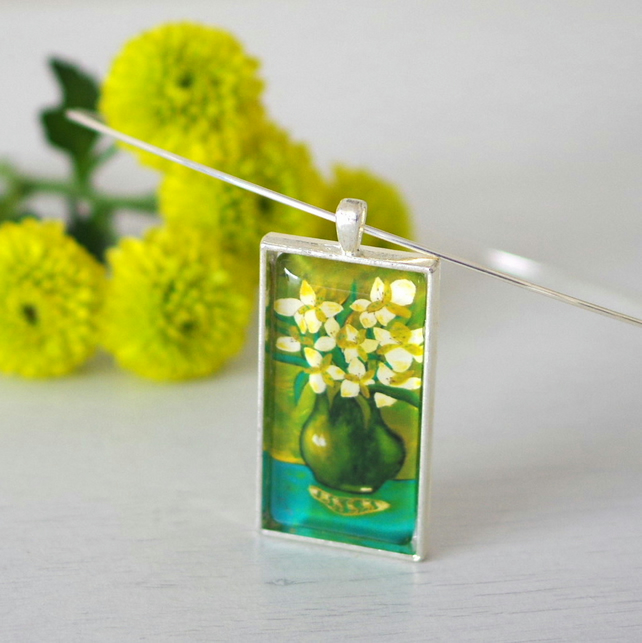 Green Floral Necklace with Still Life Art Print