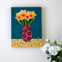Daffodils Original Painting, Teal and Yellow Floral Artwork