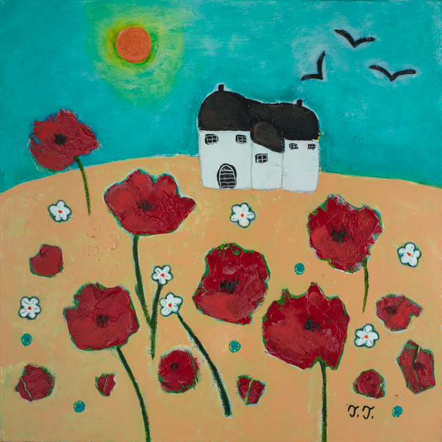 Summer Landscape with Red Poppy and Devon Cottage, Naive Art Countryside