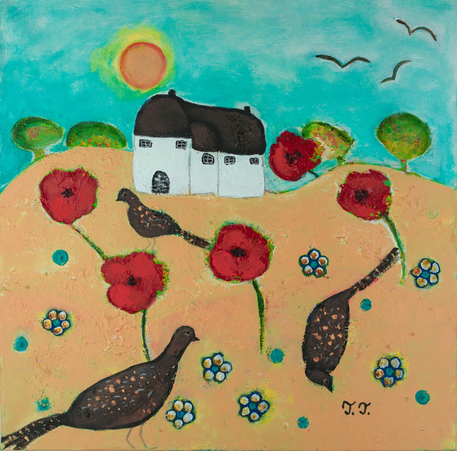 Poppy Painting, Summer Landscape, Pheasant Artwork, Devon Cottage