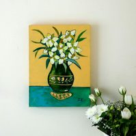Green and Yellow Floral Painting with White Flowers in a Green Folk Vase