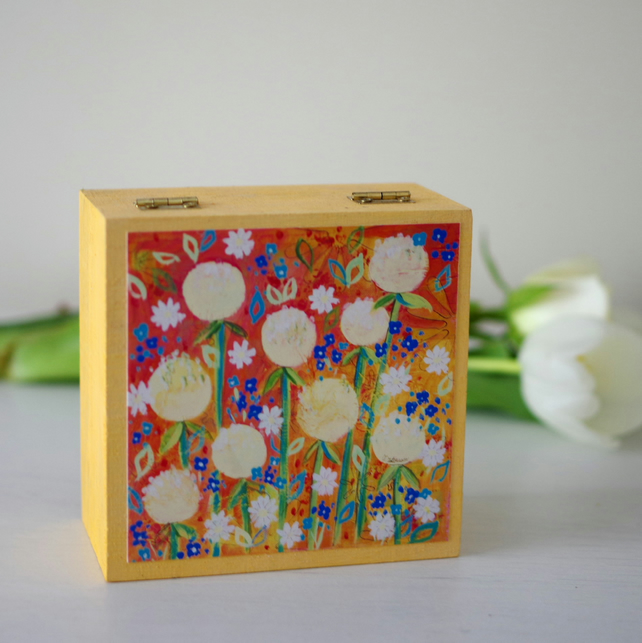 Yellow Floral Trinket Box, Yellow Jewellery Box with Dandelions Art Print