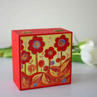 Orange Floral Jewellery Box with Art Print, Mother's Day Gift, Valentine's Gift