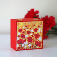 Red Poppy Trinket Box, Small Jewellery Box with Red Flowers