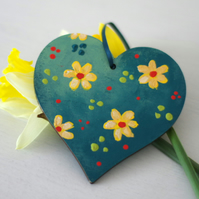 Teal Hanging Heart with Yellow Flowers for Mother's Day, Easter and Valentine's