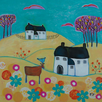 Whimsical Landscape with Cottages and Deer, Naive Animal Artwork