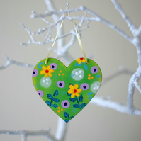 Green Floral Hanging Heart, Spring Decoration for Easter, Yellow Flowers Heart
