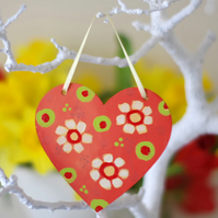 Orange Hanging Heart with Yellow Flowers, Spring Decoration for Easter
