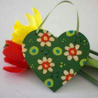 Green Hanging Heart, Easter Floral Decoration, Mother's Day Handpainted Heart