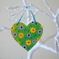 Spring Flowers Hanging Heart, Easter Floral Decoration, Yellow Flowers Heart