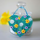 Turquoise Hanging Heart with Yellow Flowers, Easter Hanging Decoration