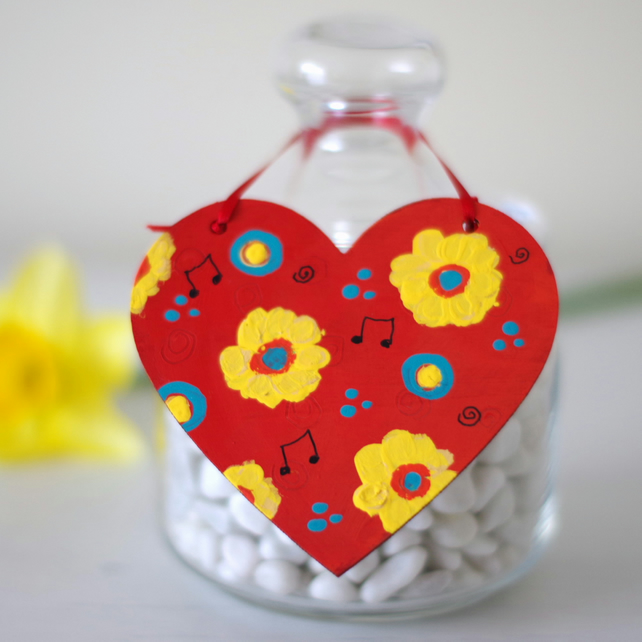 Red Hanging Heart with Yellow and Turquoise Flowers, Spring Floral Decoration