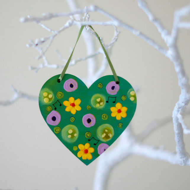 Yellow Flowers Hanging Decoration, Green Easter Hanging Heart with Purple Flower