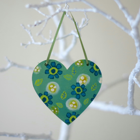 Mint Green Hanging Heart with Turquoise Flowers, Spring Floral Decoration