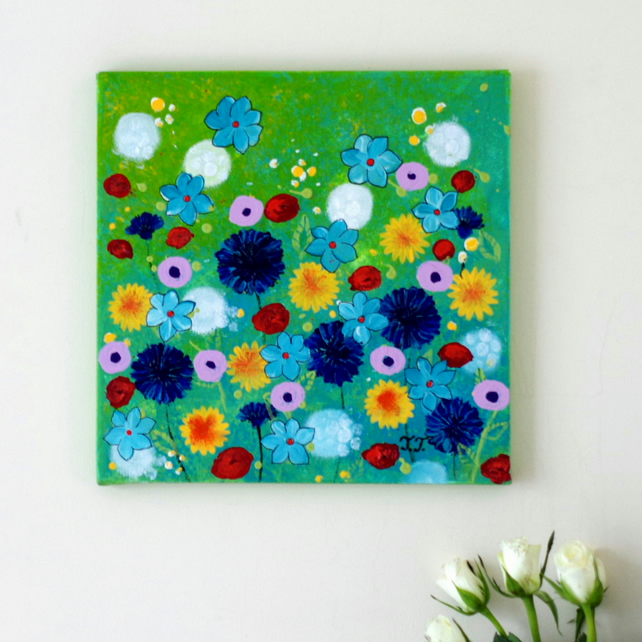 Summer Floral Painting, Dandelions and Cornflowers Artwork, Blue Flowers Art