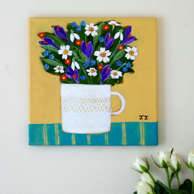 Spring Flowers Painting, Snowdrops and Crocus Artwork, Primerose Painting