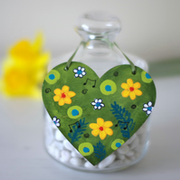 Yellow Flowers Hanging Heart, Green Spring Decoration, Easter Hanging Decoration