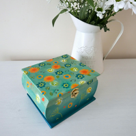 Teal Storage Box, Floral Handpainted Trinket Box, Dandelion Decorative Box