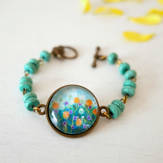 Turquoise Bracelet with Gemstones and Floral Art Print