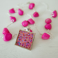 Pink Pendant Necklace with Art Print and Wood Beads