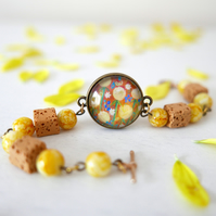 Yellow Summer Bracelet with Art Print, Mustard Bracelet