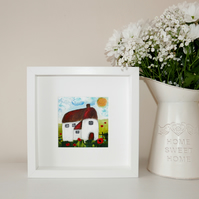 Cottage Framed Painting, Housewarming Gift, Framed Artwork