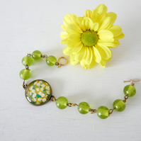 Green Bracelet, Summer Bracelet, Glass Bracelet with Floral Art print