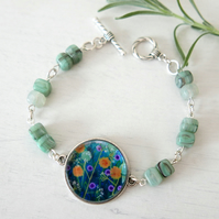 Mint Green Bracelet with Flowers, Meadow, Floral Art Pendant