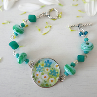 Turquoise Bracelet with Daisy and Flowers, Lampwork Beads, Art Jewellery