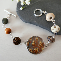 Brown Bracelet, Art Bracelet, Lampworkbeads Jewellery, Art Print, Brown Pendant