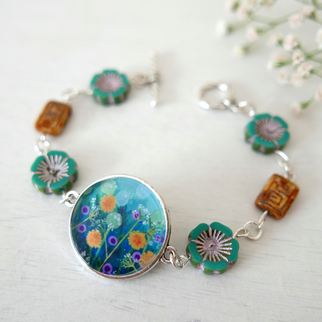 Blue and Yellow Floral Bracelet, Dandelions, Meadow, Art Jewellery