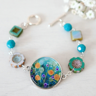 Turquoise Bracelet, Flower Bracelet, Check Glass Jewellery