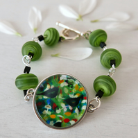 Green Bracelet with Black Bird Art Print, Lampwork Beads Jewellery