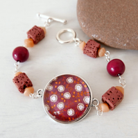 Burgundy Bracelet, Flower Bracelet, Dusty Pink Lava Beads, Folk Art Pendant