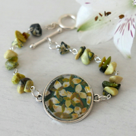 Green Floral Bracelet with Art Print, Gemstone Chip Bracelet