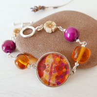 Violin Bracelet with Art Print, Lampwork Glass Beads, Wooden Beads, Flower Beads