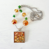 Yellow Pendant Necklace with Dandelions Art Print and Lampwork Glass