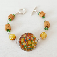 Yellow Orange Bracelet with Dandelion Art Print and Mustard Lava Beads
