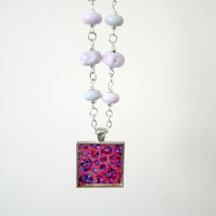 Pink Art Pendant Necklace with Pink and Purple Lampwork Glass Beads