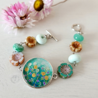 Turquoise Bracelet with Meadow Art Print and Czech Glass Beads